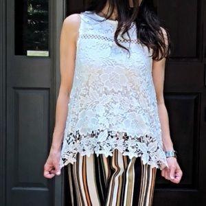 Tops - White sleeveless boho crochet top
